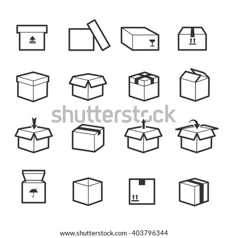 Set of box linear icons with package, container, packaging and delivery box. Vector illustration - stock vector