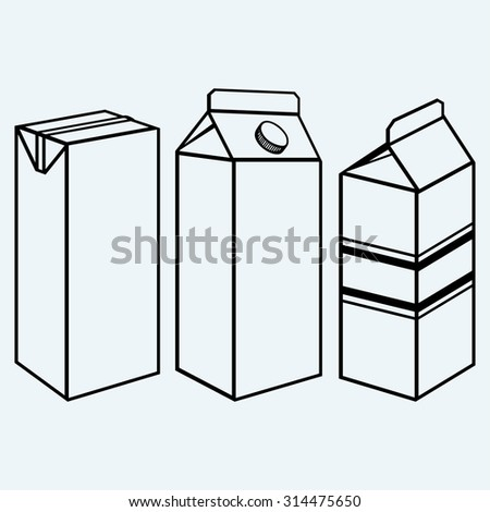 Set of boxes for milk and juice. Isolated on blue background - stock vector
