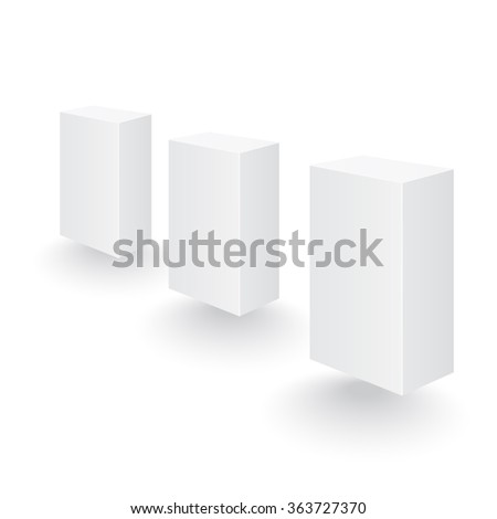 Set of boxes in perspective. Set of three dimensional boxes - stock vector