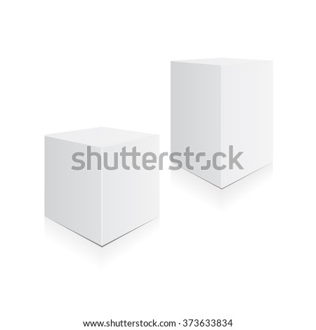 Set of boxes. Three three-dimensional white boxes with shadow and reflection. Vector illustration, eps 10 - stock vector