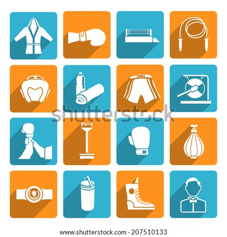 Set of boxing winner referee equipment white weights icons on color squares vector illustration