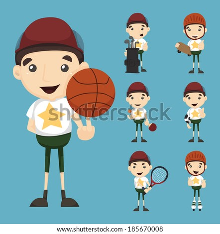 Set of boy and sport , eps10 vector format - stock vector
