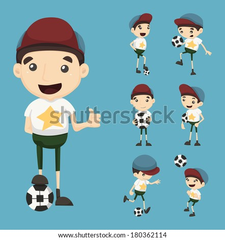 Set of boy playing football , eps10 vector format - stock vector