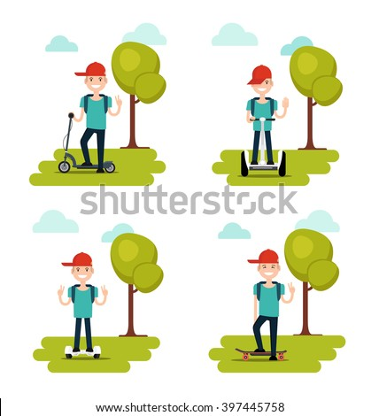 Set of boy riding  electric scooter, self balancing electric skateboard. Infographic elements isolated on white background. Vector illustration - stock vector