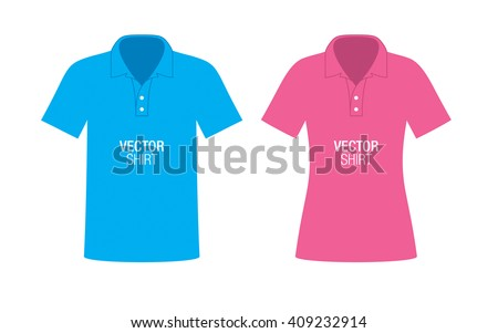 Set of boys and girls polo shirt templates. Blue and pink vector classic shirts, isolated on background. - stock vector