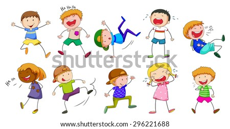 Set of boys and girls showing different emotions - stock vector