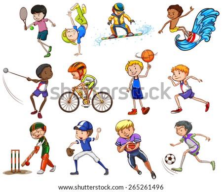 set boys playing different kinds sports stock vector 265261496 shutterstock. Black Bedroom Furniture Sets. Home Design Ideas