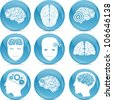 set of brain icons - stock vector