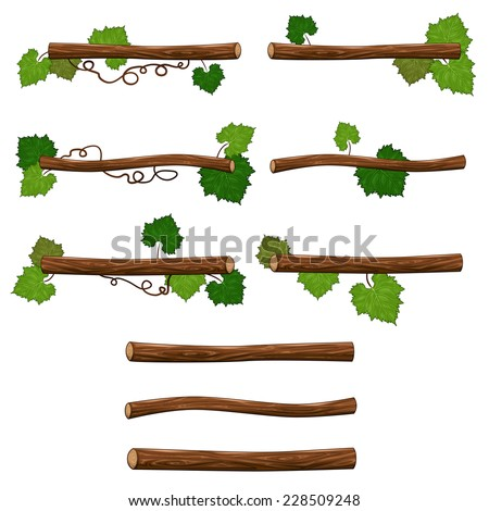 Set of branches. Vector isolated objects for platform games or graphics. - stock vector
