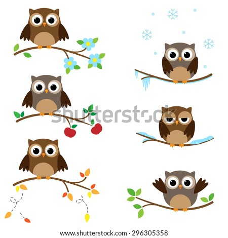 Set of branches with sitting owls. Different seasons of the year - stock vector