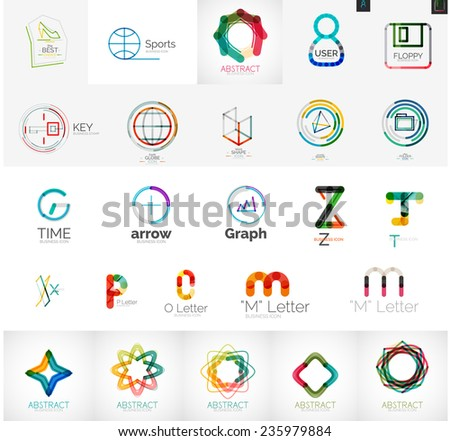 Set of branding company logo elements, abstract business icons - stock vector