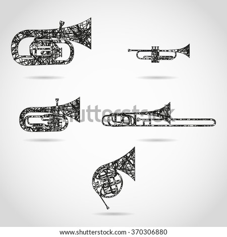 set of brass instruments for orchestra. painted design - stock vector