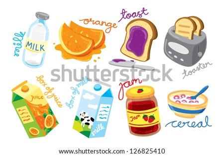 set of breakfast icon - stock vector