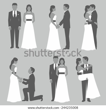 Set of bride and groom - stock vector