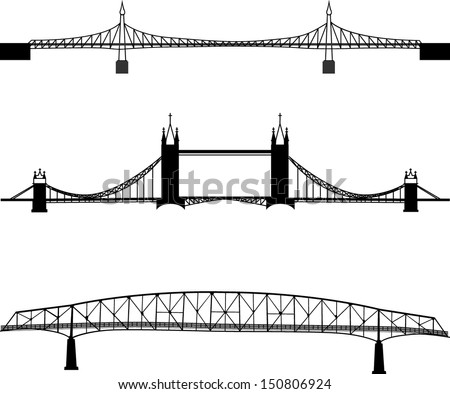 Set of bridge silhouette - stock vector