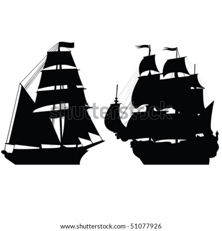 Set of brigantine silhouettes - stock vector