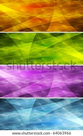Set of bright abstract banners - eps 10 - stock vector