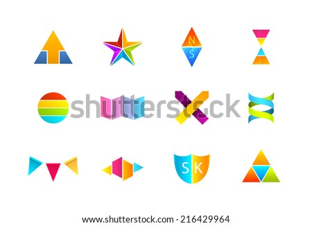 Set of bright abstract logos isolated on white. EPS10 vector image. - stock vector