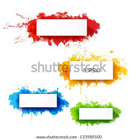 Set of bright abstract paper-cut backgrounds. Vector illustration - stock vector