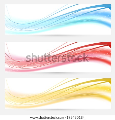 Set of bright abstract wave lines cards headers and footers. Vector illustration - stock vector