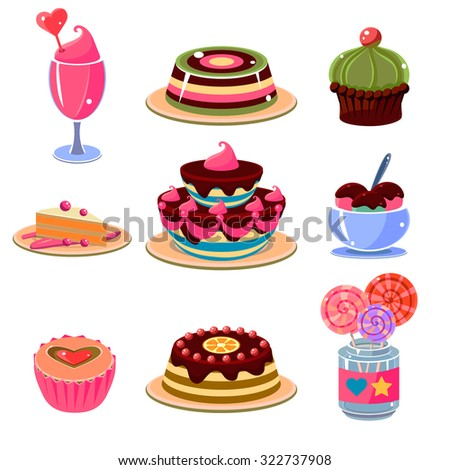 Set of bright and colourful dessert icons. Vector illustration collection.