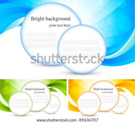 Set of bright background with circles - stock vector