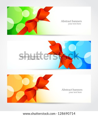 Set of bright banners with bow - stock vector