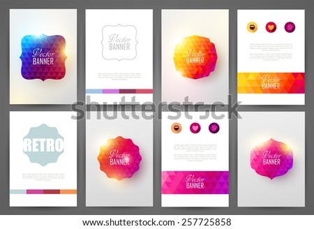 Set of bright brochures templates. Vintage frames and backgrounds. - stock vector