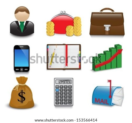 Set of bright business and financial icons on a white background