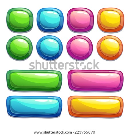 Set of bright buttons for game or web design - stock vector
