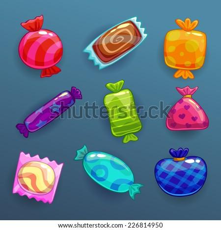set of bright cartoon candies - stock vector