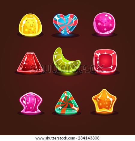 Set of bright cartoon candies for game - stock vector