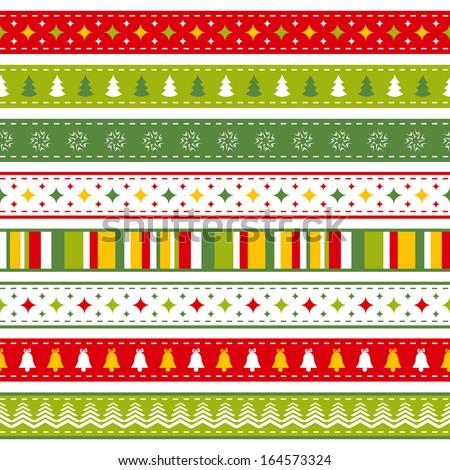 set of bright Christmas ribbons - stock vector