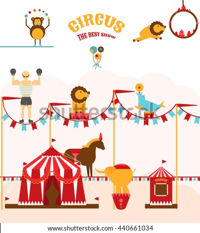 Set of bright circus animals and a circus tent. Leo, jumping through flaming hoop , juggling monkey, seal , horse and elephant . Elements of circus. Vector illustration. Circus show