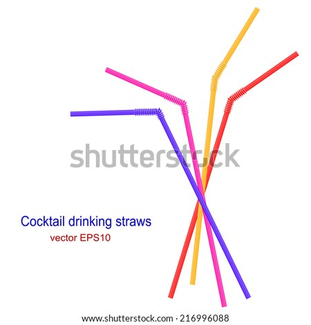 Set of bright cocktail straws isolated on white background. Vector illustration. - stock vector
