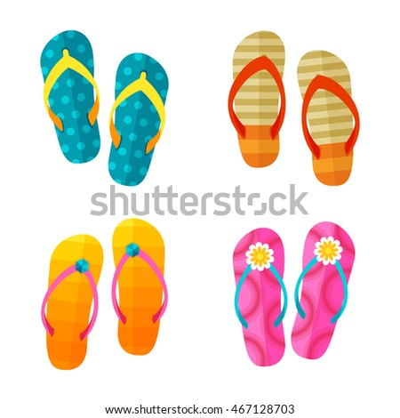 Set of bright colorful flip flops vector
