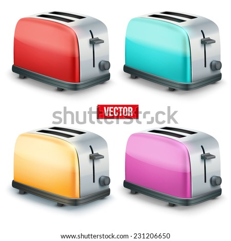 Set of Bright colorful Metal Glossy Toasters. Vector illustration isolated on white background. - stock vector