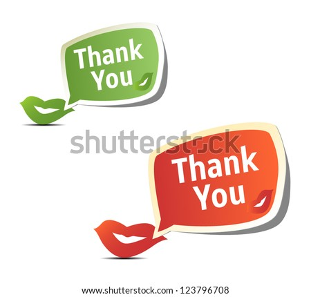Set of bright colorful stickers Thank You - stock vector