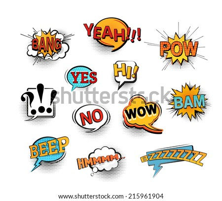 Set of bright cool and dynamic comic speech bubbles for different emotions and sound effects. EPS10 vector image. - stock vector