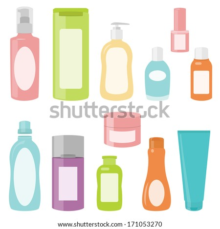 Set 2 of bright cosmetics containers isolated on white - stock vector