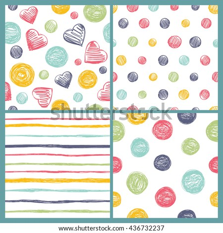 Set of 4 bright doodle seamless patterns. Modern stylish texture. Cute and colorful background for your design.