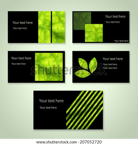 Set bright eco business cards place stock vector royalty free set of bright eco business cards with place for your text texture of green leaf reheart Gallery