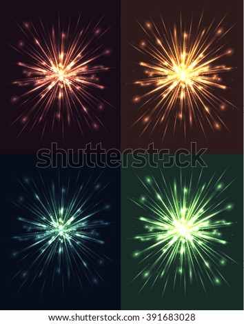 Set of bright explosions with rays and glare. Vector elements for your creativity - stock vector
