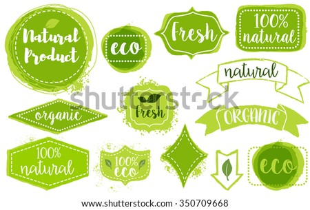 Set of bright green hand draw labels, badges and emblems for organic, natural, eco and bio products isolated on white background. Vector illustration. - stock vector