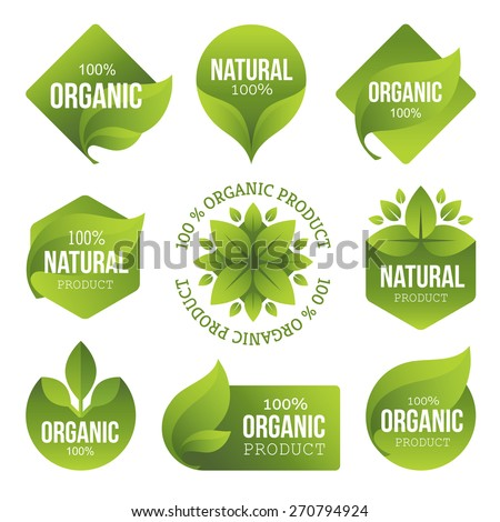 Set of bright green labels with leaves for organic, natural, eco or bio products isolated on white background - stock vector