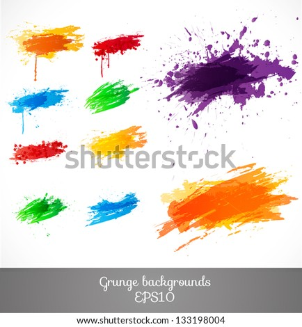 Set of bright grunge backgrounds. Vector illustration - stock vector