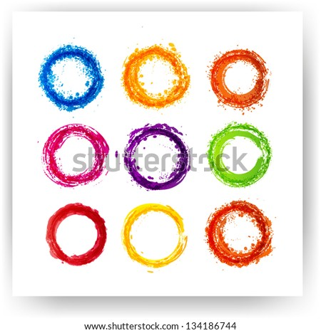 Set of bright grunge circles for your design. Vector illustration - stock vector
