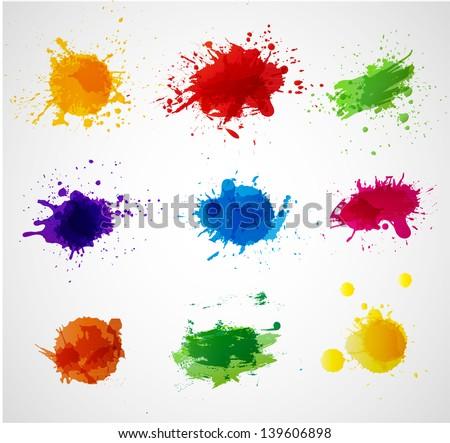 Set of bright grunge splashes. Vector illustration - stock vector