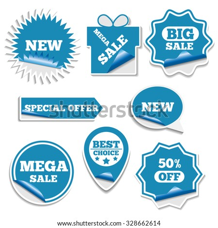 Set of bright labels sale in the form of stickers first part, vector illustration.