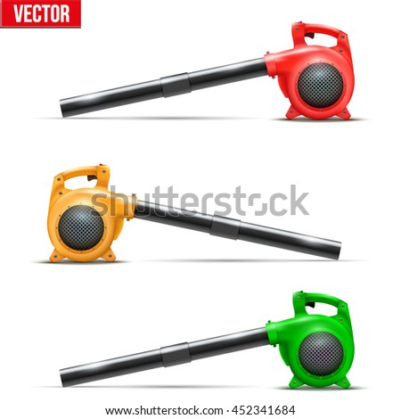 Set of Bright Leaf garden blowers. Vector Illustration isolated on white background. - stock vector